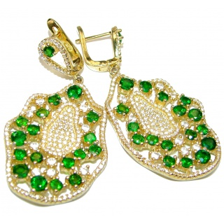Mia Authentic Emerald Gold over.925 Sterling Silver handmade earrings