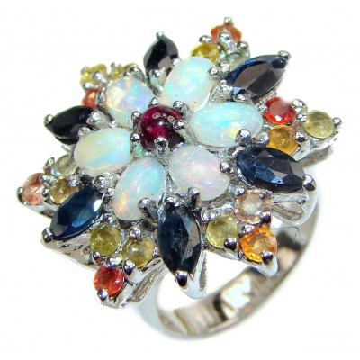 Open Sky Ethiopian Opal .925 Sterling Silver handcrafted Huge ring size 9