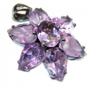 Flower Genuine Amethyst .925 Sterling Silver handcrafted pendant