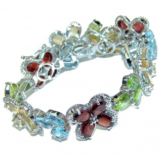 Spectacular Authentic Multigem .925 Sterling Silver handcrafted Bracelet