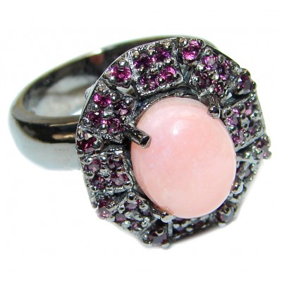 Pink Opal Garnet black rhodium over .925 Sterling Silver handcrafted ring size 8