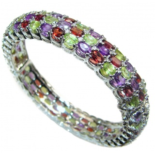 Huge authentic multigem .925 Sterling Silver handcrafted Bracelet