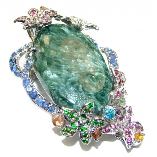 Precious Great quality Green Seraphinite .925 Sterling Silver handmade Pendant brooch