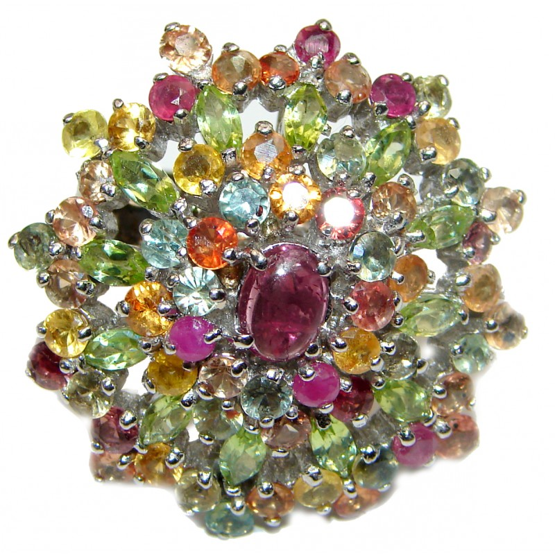 Cassiopeia Large Natural Ruby Tourmaline .925 Sterling Silver handcrafted Ring s. 8 3/4
