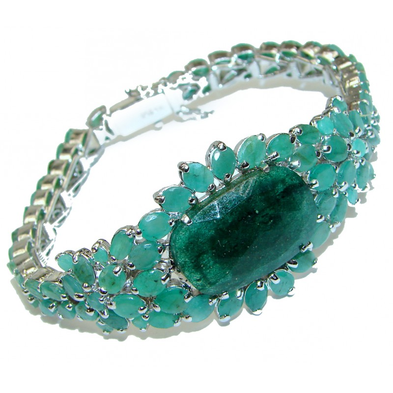 Green Ivy Huge authentic Emerald .3925 Sterling Silver handcrafted Bracelet