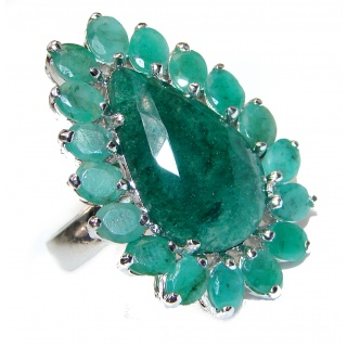 Fancy Genuine Emerald .925 Sterling Silver handcrafted Statement Ring size 8
