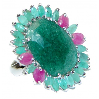 Ravishing Green HUGE Emerald Ruby .925 Sterling Silver handcrafted Statement Ring size 8