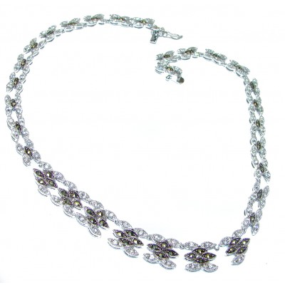 Magnificent Jewel authentic Marcasite .925 Sterling Silver handcrafted necklace