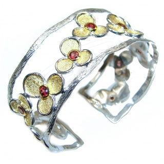 Summer Meadow Genuine Garnet 2tones .925 Sterling Silver Bracelet / Cuff
