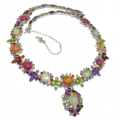 Gabriella HUGE authentic Multigem .925 Sterling Silver Transforming handcrafted necklace