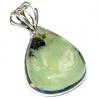 Beautiful vintage design genuine Prehnite .925 Sterling Silver handcrafted LARGE Pendant