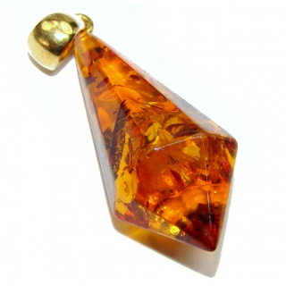 Incredible Beauty faceted Natural Baltic Amber .925 Sterling Silver handmade Pendant