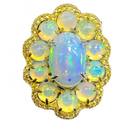 DEEP DESIRE 36ct Ethiopian Opal 18k yellow Gold over .925 Sterling Silver handcrafted ring size 9