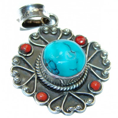 Huge Blue authentic Turquoise .925 Sterling Silver handmade Pendant