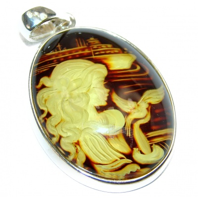 Beatiful Lady Authentic carved Baltic Amber .925 Sterling Silver handmade Pendant