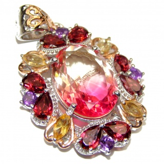Deluxe Oval cut Pink Tourmaline color Topaz 18K Gold over .925 Sterling Silver handmade Pendant