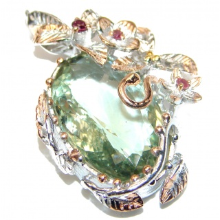 Amazing Green Amethyst .925 Sterling Silver handcrafted pendant