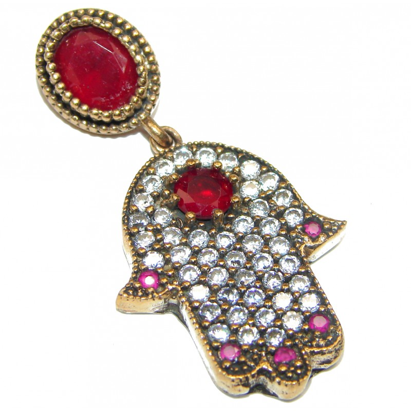 Victorian Style Hamsa Hand ruby & White Topaz Sterling Silver Pendant