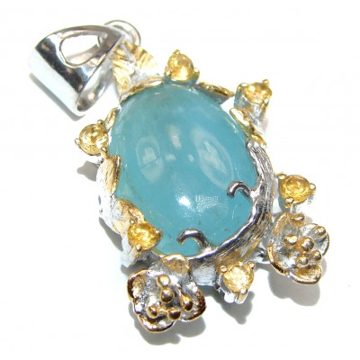 Genuine Aquamarine 18K gold over .925 Sterling Silver handcrafted Pendant