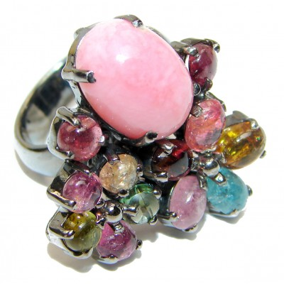 Pink Opal Tourmaline black rhodium over .925 Sterling Silver handcrafted ring size 8