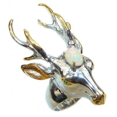 Large Deer Head Ethiopian Opal .925 Sterling Silver handmade Ring size 9 1/2