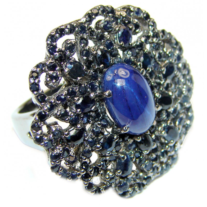 Large Vintage Design Natural Sapphire black rhodium over .925 Sterling Silver handcrafted Ring s. 8 1/4