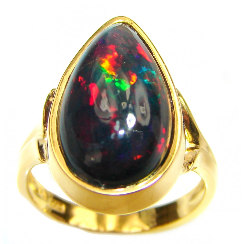 22.5ctw Genuine Black Opal 18K Gold over .925 Sterling Silver handmade Ring size 7