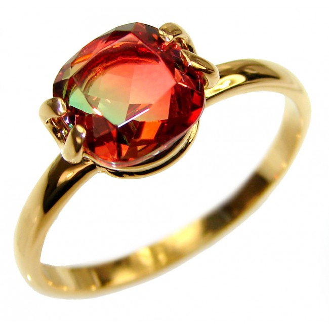 4.8 Watermelon Tourmaline .925 Sterling Silver handcrafted Statement Ring size 9