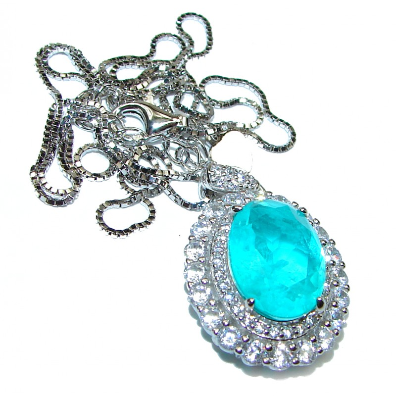 Luxurious Paraiba Tourmaline .925 Sterling Silver handcrafted necklace