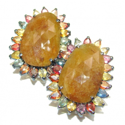 Large Incredible quality Authentic yellow Sapphire .925 Sterling Silver handmade earrings
