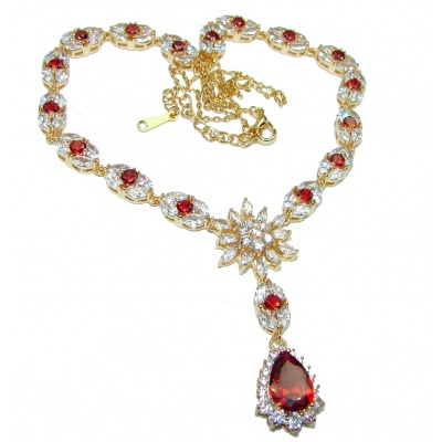Incredible Red Topaz .925 Sterling Silver handcrafted necklace