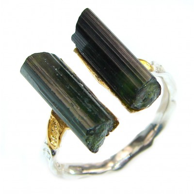 Authentic Rough Tourmaline over 2 tones .925 Sterling Silver Ring size 9