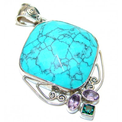 Exquisite Beauty authentic Turquoise .925 Sterling Silver handmade Pendant