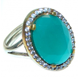 Spectacular created Emerald .925 Sterling Silver handmade Ring size 9