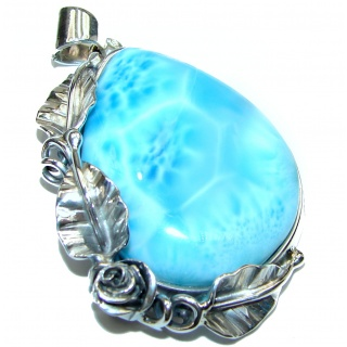 33.5grams Great AAAAA quality Larimar .925 Sterling Silver handmade Huge pendant