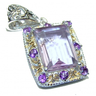 Perfect Pink Amethyst 18K Gold over .925 Sterling Silver handmade pendant