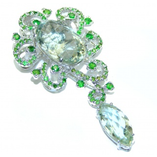 Vintage style Beauty genuine Green Amethyst Emerald .925 Sterling Silver handmade LARGE Pendant - Brooch