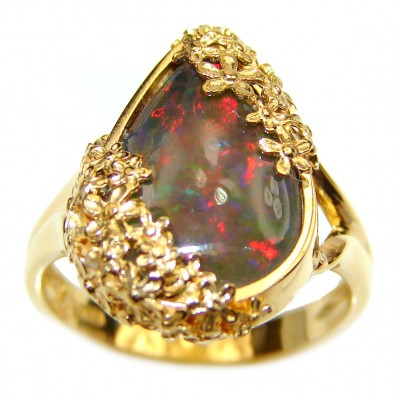 Vintage Design 11.5ctw Genuine Black Opal 14K Gold over .925 Sterling Silver handmade Ring size 7 1/4
