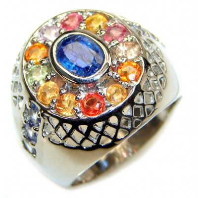 Blue Perfection Kyanite multicolor Sapphire .925 Sterling Silver Ring size 8 1/2