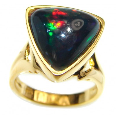 12.5ctw Genuine Black Opal 18K Gold over .925 Sterling Silver handmade Ring size 5 3/4