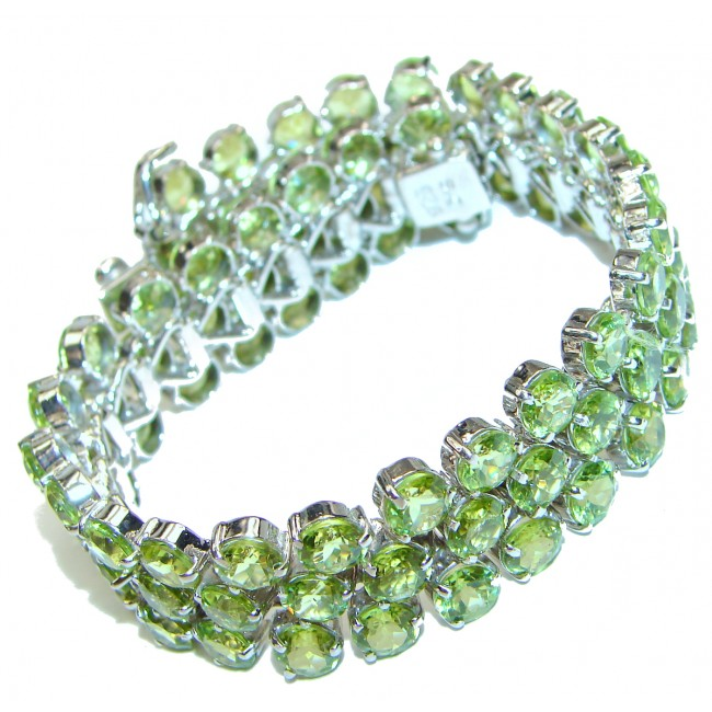 Melissa Chunky Flawless Peridot .925 Sterling Silver handcrafted Bracelet