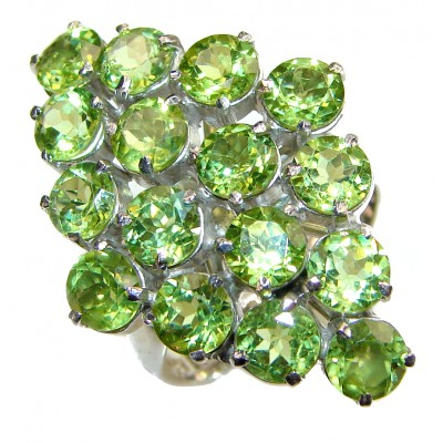 Melissa genuine Peridot .925 Sterling Silver handcrafted Large Ring size 9