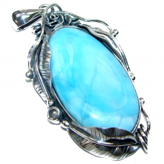 Grea quality Larimar from Dominican Republic .925 Sterling Silver handmade Huge pendant