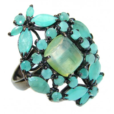 Ravishing Green HUGE Emerald Prehnite black rhodium over .925 Sterling Silver handcrafted Statement Ring size 9