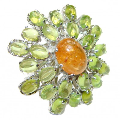 Large Genuine yellow Sapphire Peridot .925 Sterling Silver handcrafted Statement Ring size 7 1/2