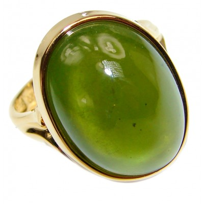 Authentic 20ct Green Tourmaline Yellow gold over .925 Sterling Silver brilliantly handcrafted ring s. 8
