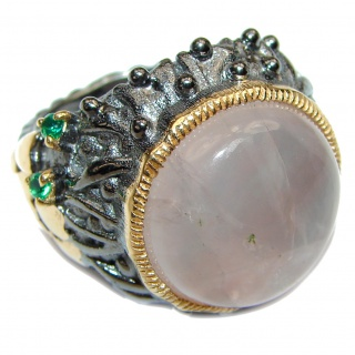 Luxurious Genuine Rose Quartz Emerald .925 Sterling Silver handcrafted Statement Ring size 6 1/4