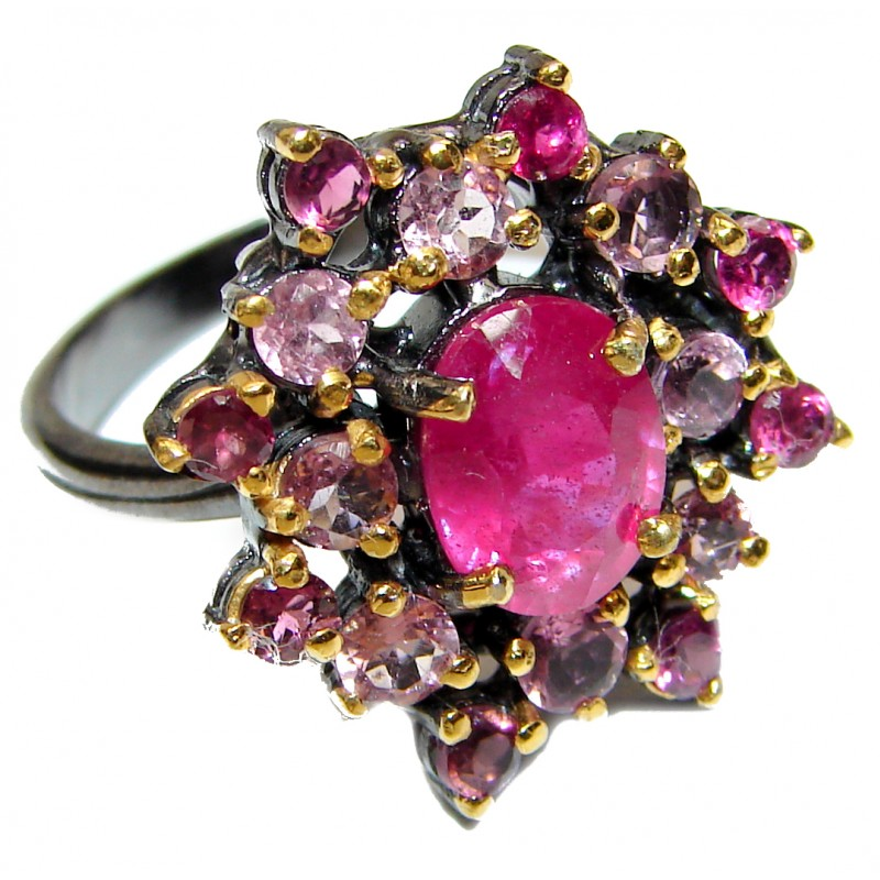 Genuine Ruby Tourmaline .925 Sterling Silver handcrafted Statement Large Ring size 8 1/4