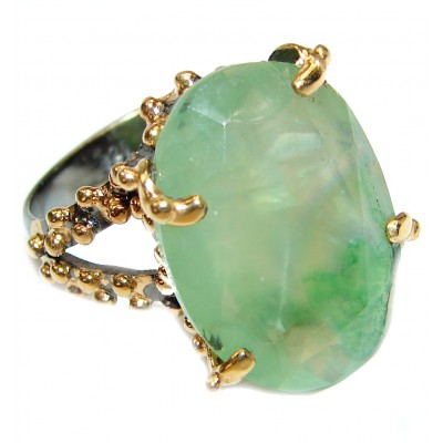 Large Natural Prehnite 14K Gold over .925 Sterling Silver handmade ring s. 8
