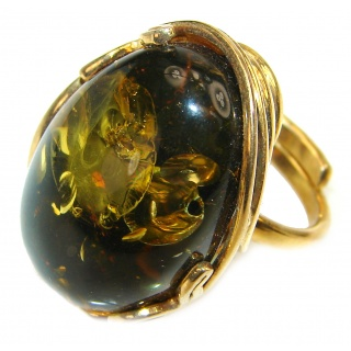 Authentic Green Baltic Amber 14K Gold over .925 Sterling Silver handcrafted ring; s 8 adjustable